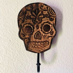 Other - Sugar Skull Day of the Dead wood wall hook